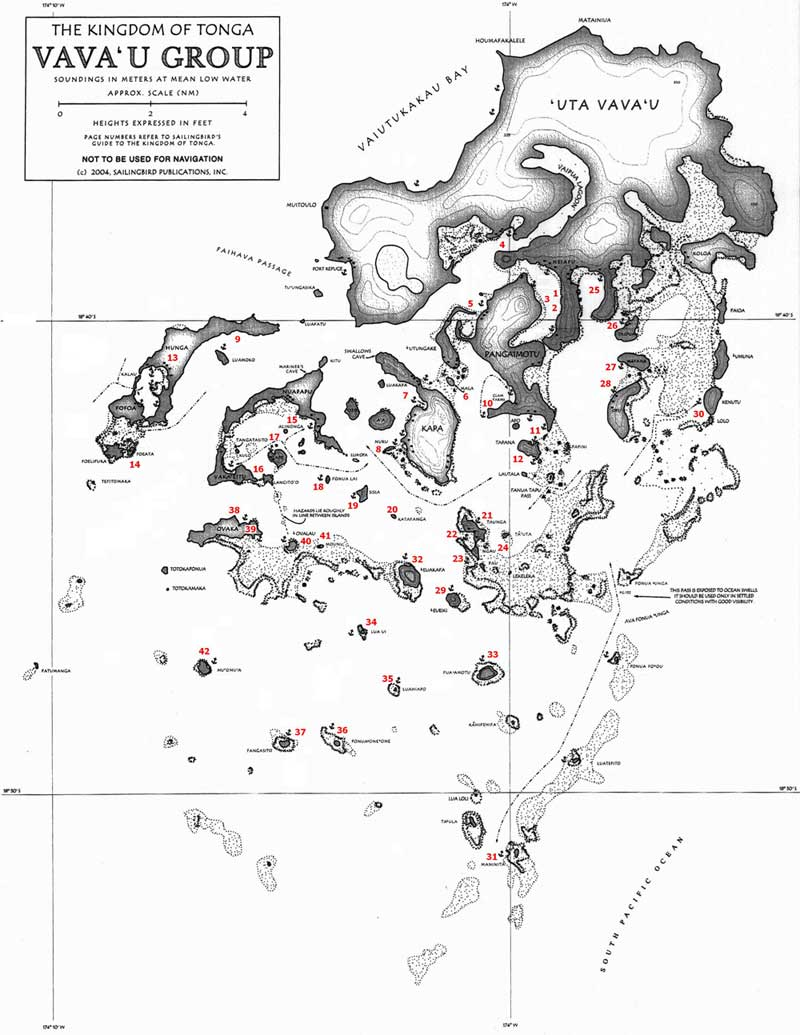 Sailing Maps Charts and Anchorages in Tonga VavaU Islands from
